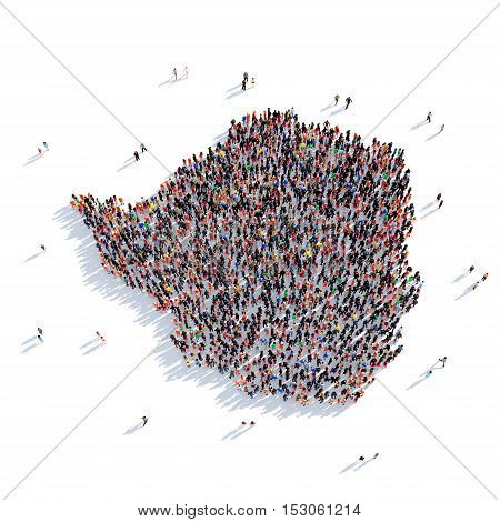 Large and creative group of people gathered together in the form of a map Zimbabwe, a map of the world. 3D illustration, isolated against a white background. 3D-rendering.