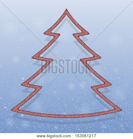 Falling snow vector. Winter snowfall hand drawn spray texture. Red sequins in the form christmas tree. Mosaic, sequins, glitter, sparkle, stars. Christmas tree. Happy New Year and Merry Christmas.