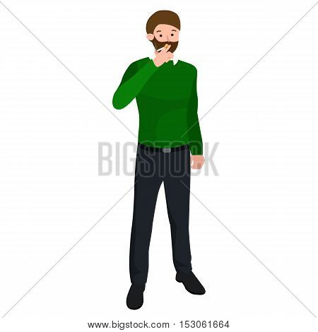 funny cartoon office worker smoking cigarette cartoon character, vector illustration.