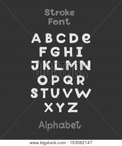 Alphabet. English Sloppy Fat Stroke Font Letters. Capital Bold Letters.
