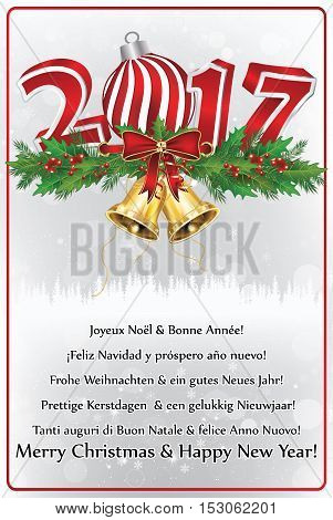 Christmas Wishes in many languages. Greeting card 2017 with text in many languages: German, English, Dutch, Italian, French and Spanish. Print colors used. Size of custom postcard.