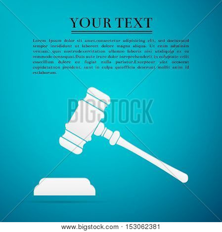Hammer of judge or auctioneer flat icon on blue background. Vector Illustration