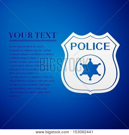 Police badges flat icon on blue background. Vector Illustration