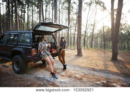 Women Friendship Hangout Traveling Camping Concept
