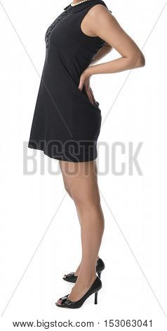 Business woman with back pain after long work isolated on white background.