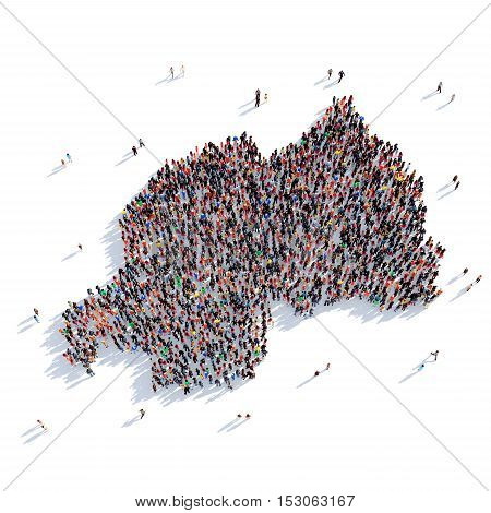 Large and creative group of people gathered together in the form of a map Rwanda, a map of the world. 3D illustration, isolated against a white background. 3D-rendering.