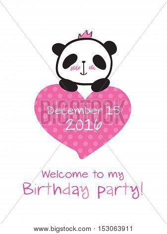 Invitation to the birthday with little cute panda and heart. Vector.