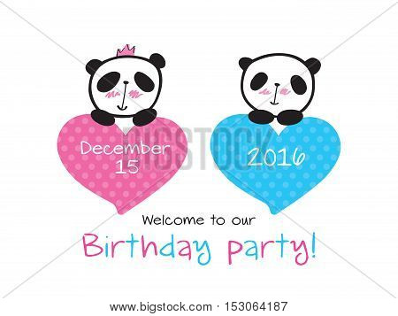 Invitation to the birthday of twins with little cute pandas and hearts. Hand drawn panda for your design.