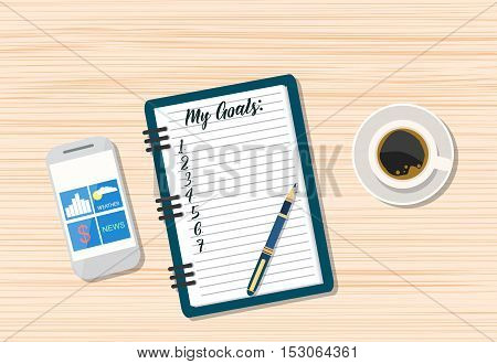 Office wooden desk. Coffee, smartphone and blank memo with pen. vector illustration in flat style