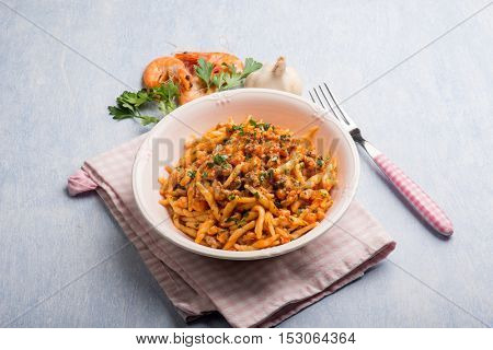 trofie pasta with shrimp tomatoes garlic and parsley