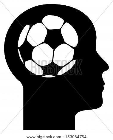 Human mind - football in a head, vector illustration