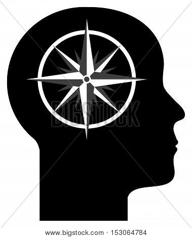 Human mind - compass in to the head, vector illustration