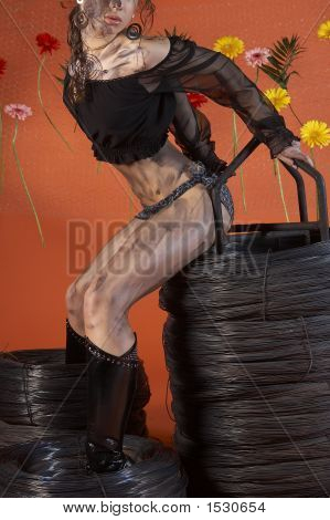 Attractive Girl Sitting On A Roll Of Wire