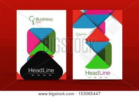 Geometric design, business annual report a4 brochure template