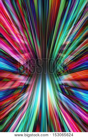 A colourful dynamic converging lines background on black