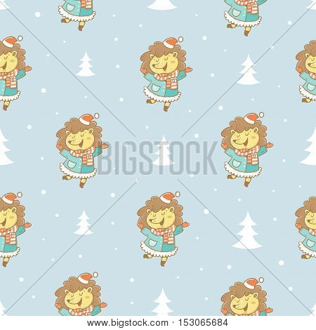 Seamless pattern with cute cartoon hedgehogs  in coats  and hats on blue  background. Winter time. Snow day. little creatures in clothes. Funny animal. Vector contour image. Children's illustration.