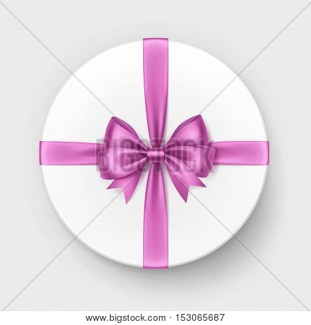 Vector White Round Gift Box with Shiny Light Pink Satin Bow and Ribbon Top View Close up Isolated on White Background