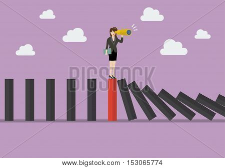 Business woman search in business strategy on red domino tile among many black dominoes. Be different concept