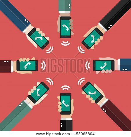 Conference call in flat style. vector illustration
