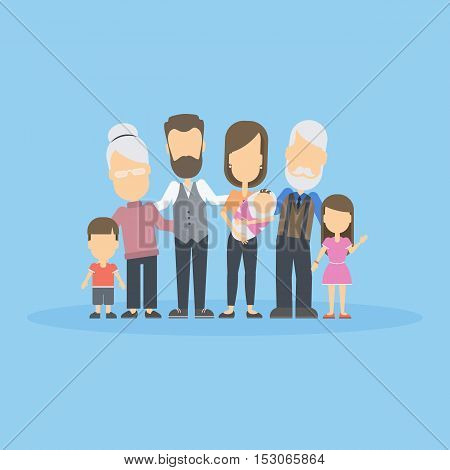 Isolated happy family on blue background. All members of the family like parents, grandparents and children.