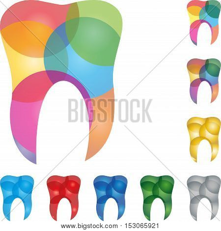 Tooth colored, tooth, tooth and dentist logo