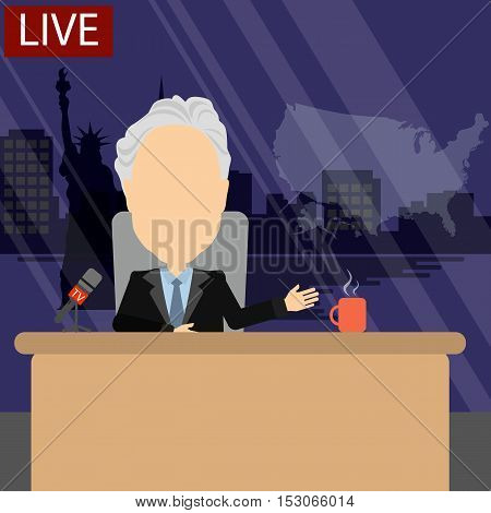 Russia October.24, 2016. World news on tv. Male news reporter with microphone sitting at the table. Latest information. Tv screen with headline. John Steward.