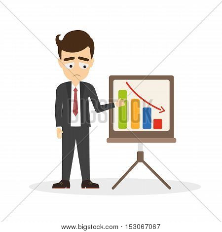 Businessman with unsuccessful business. Isolated cartoon character with chart board and statistics. Progress data. Making profit.