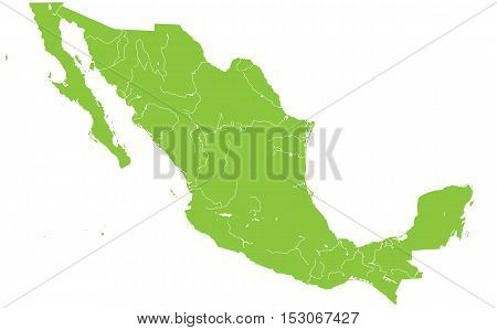 Large and detailed map of Mexico with all rivers and lakes.