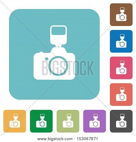 Camera with flash flat icons on color rounded square backgrounds