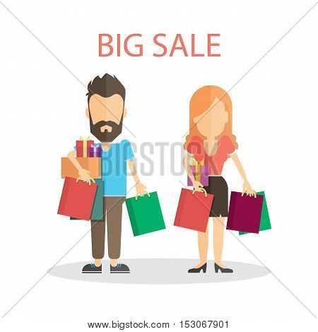 Big sale concept. Isolated couple with many colorful shopping bags standing on white background.
