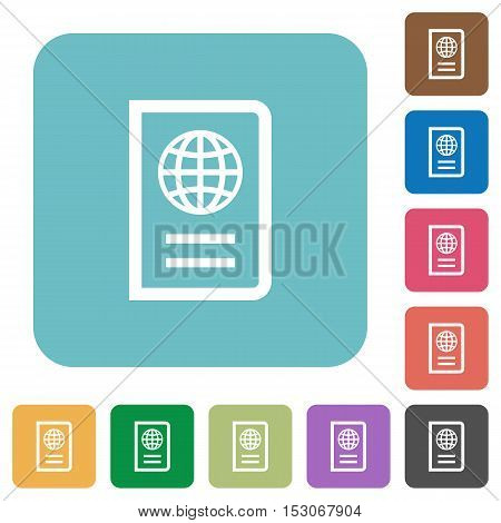 Passport flat icons on color rounded square backgrounds