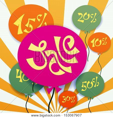 baloons with sale text seasonal clearance sale advertising banner vector illustration