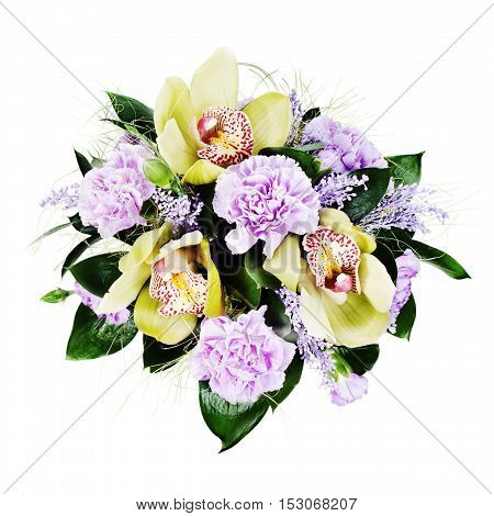 Colorful floral bouquet of roses, cloves and orchids isolated on white background.