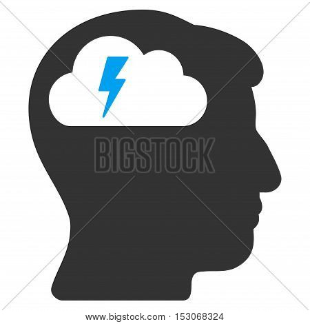 Brainstorming glyph pictogram. Style is flat graphic bicolor symbol, blue and gray colors, white background.