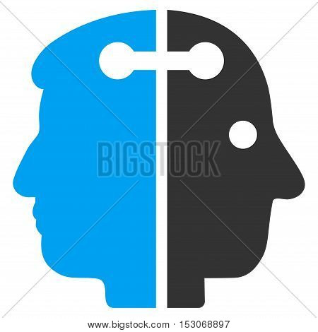 Dual Head Connection glyph pictograph. Style is flat graphic bicolor symbol, blue and gray colors, white background.