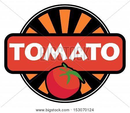 Vegetable label or stamp - tomato, vector illustration