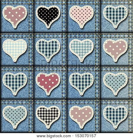 Seamless background pattern. Patchwork of denim fabric with the hearts.