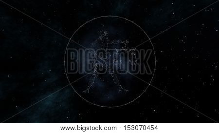 Libra zodiac sign of the beautiful bright stars on the background of cosmic sky. Stars and symbol outline on a dark sky background. Zodiac signs. Horoscope. Astrology sign.