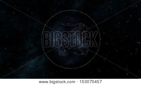 Capricorn zodiac sign of the beautiful bright stars on the background of cosmic sky. Stars and symbol outline on a dark sky background. Zodiac signs. Horoscope. Astrology sign.