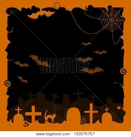 Halloween background with a silhouette of a black cat bats cobwebs and tombstones
