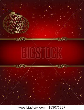 Christmas design red background with balloons and place for text