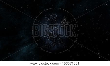Virgo zodiac sign of the beautiful bright stars on the background of cosmic sky. Stars and symbol outline on a dark sky background. Zodiac signs. Horoscope. Astrology sign. Part of a Zodiac series.