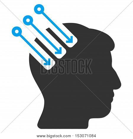 Neuro Interface glyph pictograph. Style is flat graphic bicolor symbol, blue and gray colors, white background.