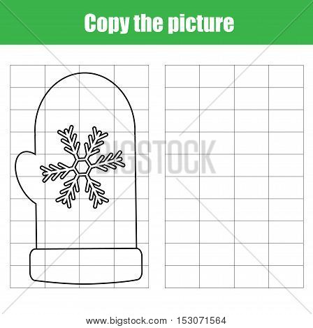 Copy the picture using a grid children educational drawing game. Printable kids activity copy the winter mitten worksheet