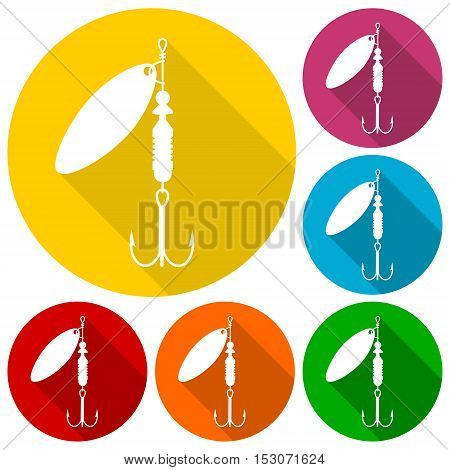 Simple Fishing Lure icons set  on white background