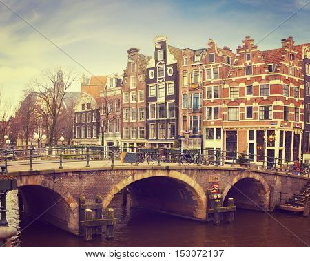 Prinsengracht Canal, Amsterdam, The Netherlands.   Toned image