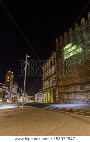 Text Portugal was born here in Town Guimaraes - architecture background