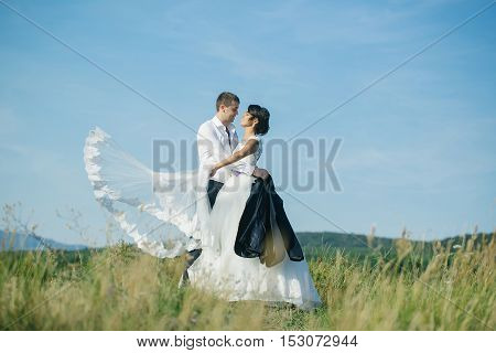 Groom And Bride Summer Field