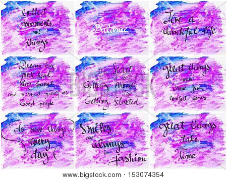 Collage Of Inspirational Messages Over Abstract Water Color Backgrounds