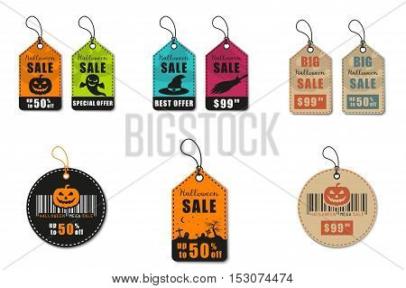 Halloween vector mega set. Halloween sale, discount and offer tags, stickers
